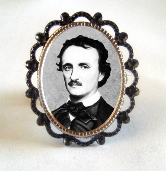 Victorian Edgar Allen Poe Silver Tone Filigree Ring Poet The Raven Writer Horror Author Gothic Portrait