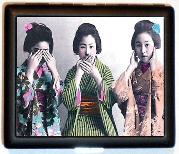Geisha See No Evil Hear No Evil Speak No Evil Cigarette Case Holder Business Card Wallet Three Wise Monkeys