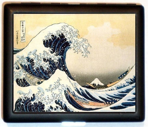Great Wave Cigarette Case Business Card Holder Wallet Japanese Japan Woodblock Hokusai Asian Art Landscape