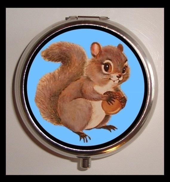 Squirrel Pill Box Pillbox Case Kitsch Kawaii Woodland Creature Animal Art Holder for Vitamins Drugs Birth Control Guitar Picks