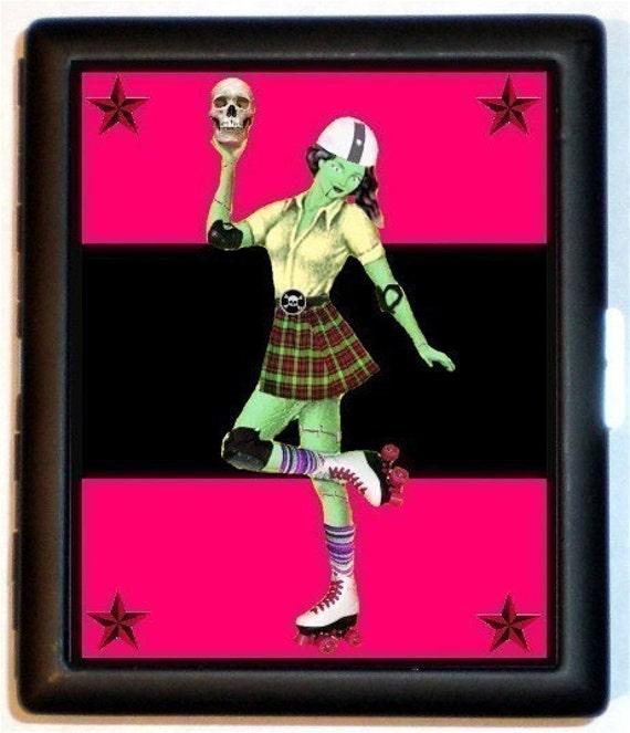 Zombie RollerGirl Roller Derby Skating Rockabilly Psychobilly Bad girl Pinup ID or Cigarette Case Wallet Business Card Holder
