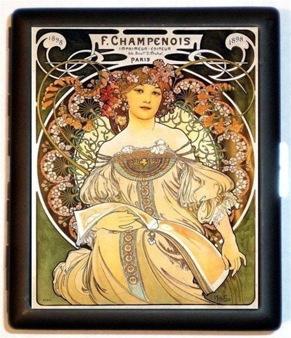 Alphonse Mucha Cigarette Case Art Nouveau Champenois Paris French Edwardian Artwork ID Business Card Credit Card Holder Wallet