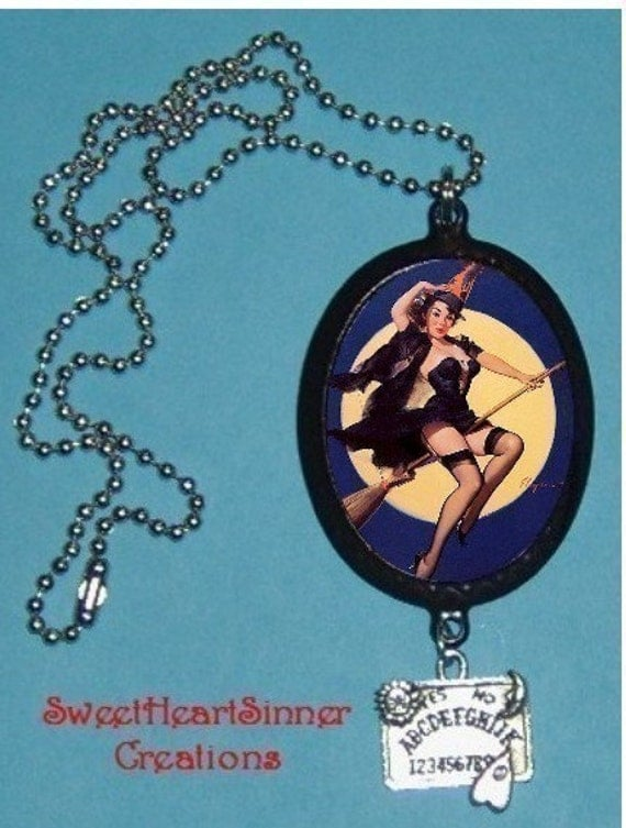 Sexy Pinup Witch Vintage Halloween Pin up necklace w/ Ouija Charm