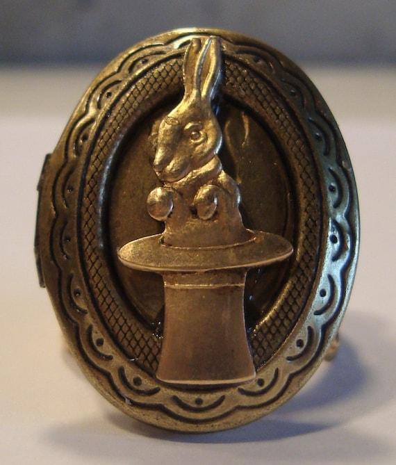 Victorian Alice in Wonderland Locket Ring We're All Mad Here White Rabbit Brass