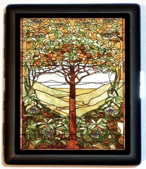Stained Glass Tree Cigarette Case Everlasting Tree of Life Business card Holder or Wallet
