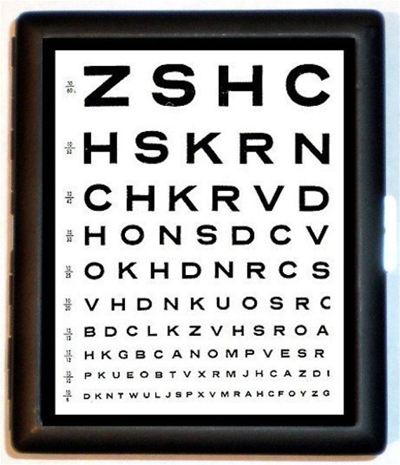 Eye Chart Cigarette Case or Business Card Case ABC letters retro kitsch Black Metal Wallet