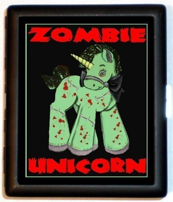 Zombie Unicorn Cigarette Case Business Card Holder wallet Lowbrow Art Psychobilly Kawaii Surreal Cute Living Dead