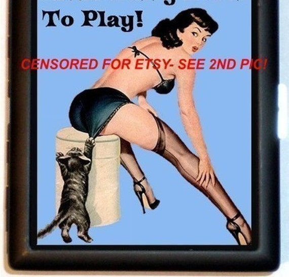 Naughty Pin-Up Cat Cigarette Case Little Pussy Loves to Play Risque Bisexual Lesbian Humor ID Business Card Credit Card Holder Wallet