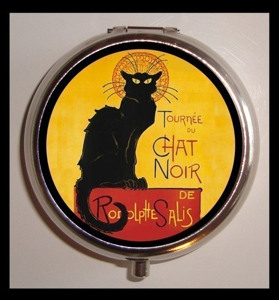 Chat Noir French Pillbox Case Holder Vintage Advertising Poster Black Cat Poster Art birth control case