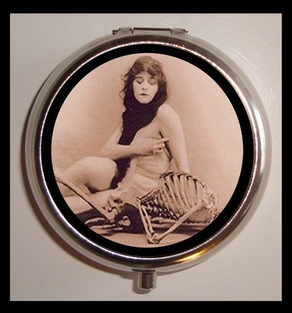Flapper Vamp Pill Box Pill Case Holder Pillbox Woman with Skeleton Esoteric Art Deco Goth Gothic Image
