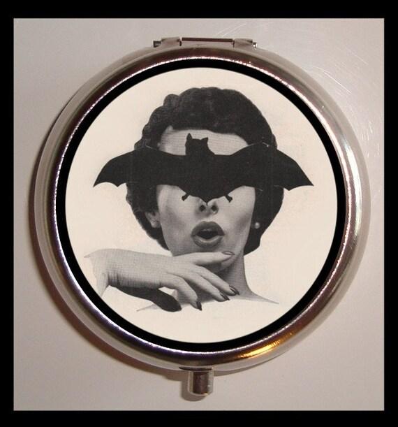 Bat Lady Pill Box Pillbox Retro Fifties Goth 1950's Stainless Steel Trinket Case Sweetheartsinner New Holds Vitamins Birth Control