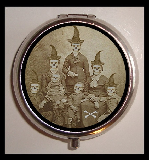 Witch Family Pill Box Pill Case Psychobilly Halloween Skull faces