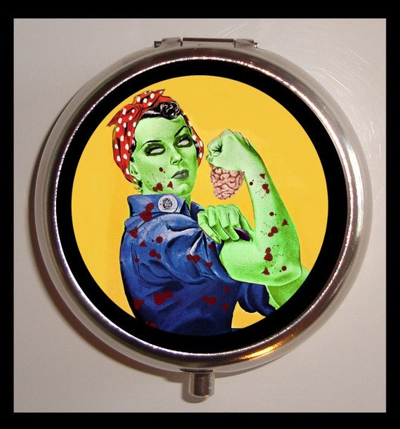 Zombie Rosie the Riveter Pill box Pillbox Case Holder Trinket Box Horror Parody Feminist NEW