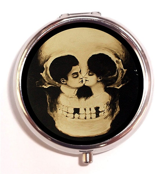 Skull Illusion Pill Box Pillbox Case Romance Kiss Metamorphic Victorian Goth Trinket Box Vitamin Holder Memento Mori Dark Art