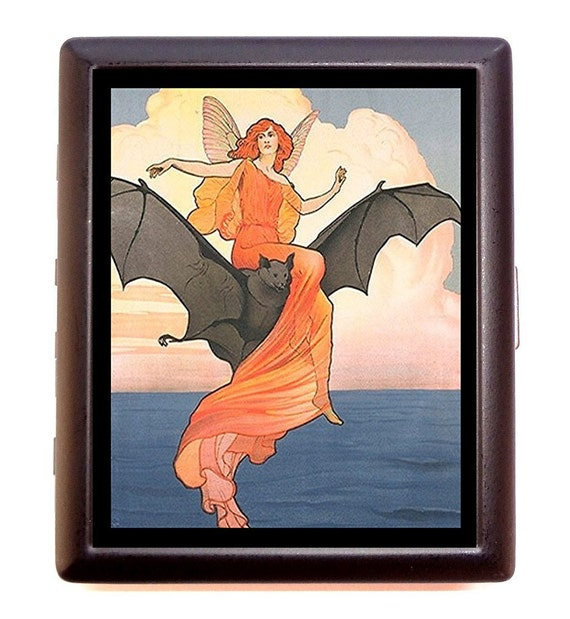 Woman Riding Bat Cigarette Case Edwardian Victorian Fairy Tale Goth Gothic Whimsical ID Business Card Credit Card Holder Wallet