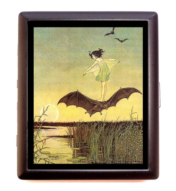 Little Girl Riding Bat Cigarette Case Vintage Storybook Fairy Tale Business Card Case or ID wallet Bats Bat Rider Artwork Whimsical Fantasy