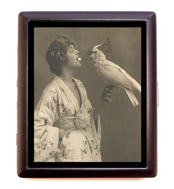 Bird Lovers Cigarette Case Business Card Case or Metal ID wallet
