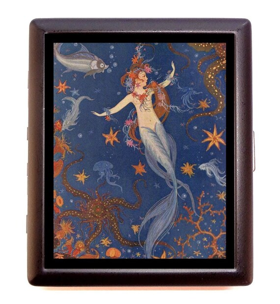 Mermaid With Fish Cigarette Case Business Card Case ID wallet