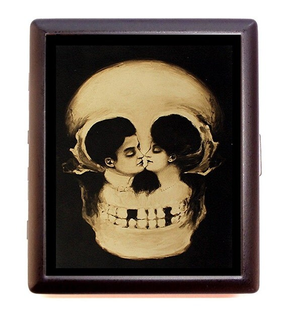 Victorian Skull Illusion Metamorphic Cigarette Case Business Card Case wallet Romance Goth