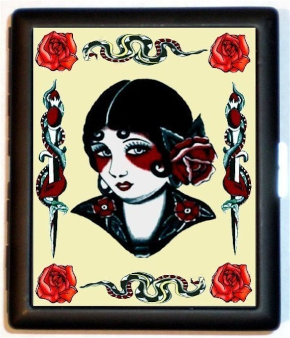 Snakes Tattoo Pinup Roses Cigarette Case Business Card Case Wallet