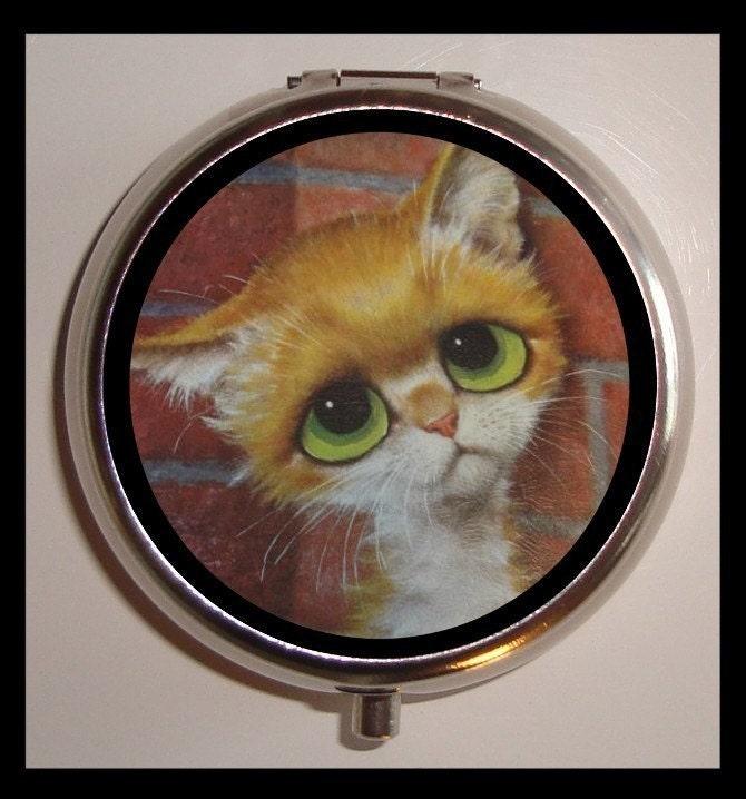 Big Eyed Kitty Pillbox Pill Box Case Orange Sad Eyed Cat