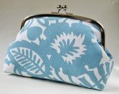 Clutch purse - blue leaves on white