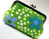 Vintage blue green flower purse