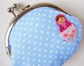 Handmade coin purse - matryoshka on baby blue