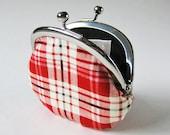 Coin purse - red white plaid