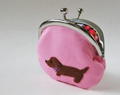 Handmade coin purse - dachshund on pink