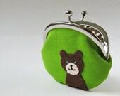 Coin purse - bear on green