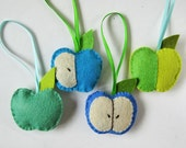 Handmade felt ornaments - 4 blue and green apples