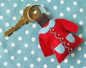 Keychain - red coat with blue collar