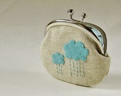 Coin purse - rain clouds on linen
