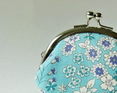 Coin purse - small flowers on sea green