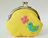Coin purse - bird with flower on yellow
