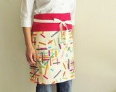 Reversible half apron - hot pink washi tape