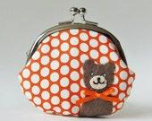 Coin purse brown bear orange polka dots