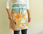 Apron  - flowers on apricot with blue band