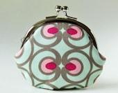 coin purse - optical art mint green pink berry