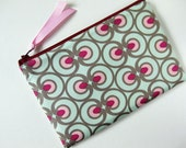 Zipper pouch - optical art mint green pink berry