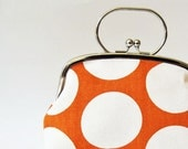 Frame purse with handle big dots on orange