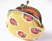 Handmade coin purse / frame pouch - floral clusters on yellow pinstripes