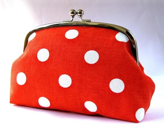 ON SALE Large frame pouch - polka dots on orange red