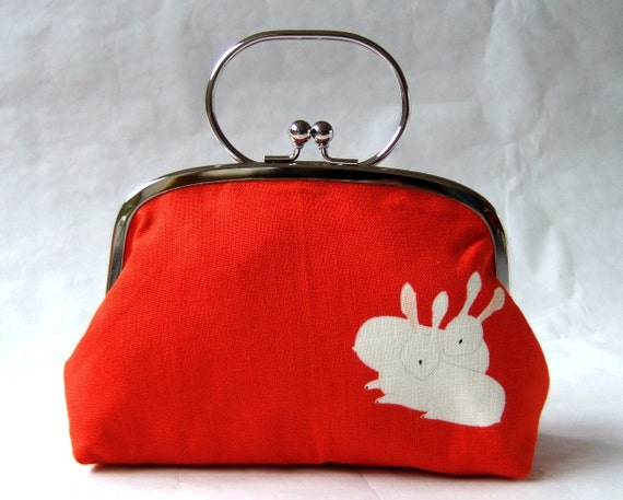 XL frame pouch with handle - rabbits on vermillion
