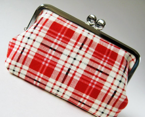 Red plaid snap purse