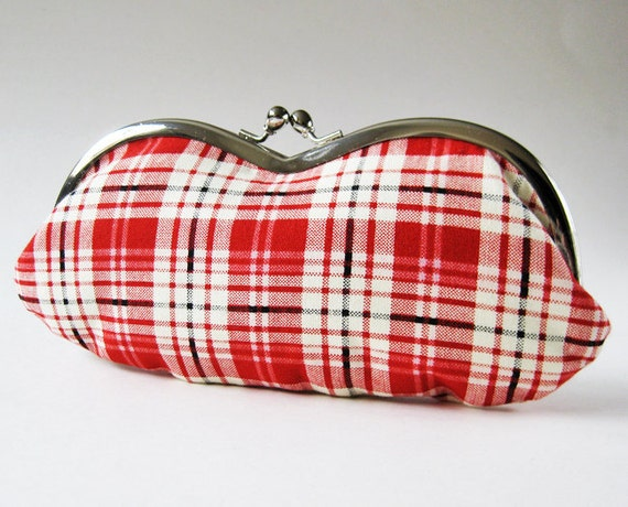 ON SALE Eyeglass case - red white plaid