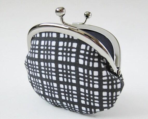 Handmade coin purse - gray check