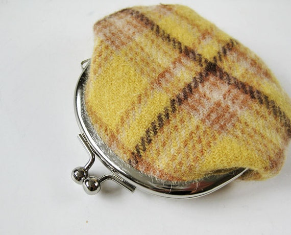 Wool coin purse - yellow plaid