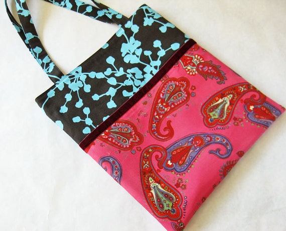 ON SALE Tote bag paisley on hot pink and aqua leaves on gray